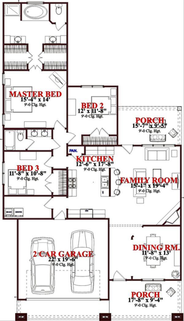 Bungalow Floor Plan - Main Floor Plan Plan #63-242