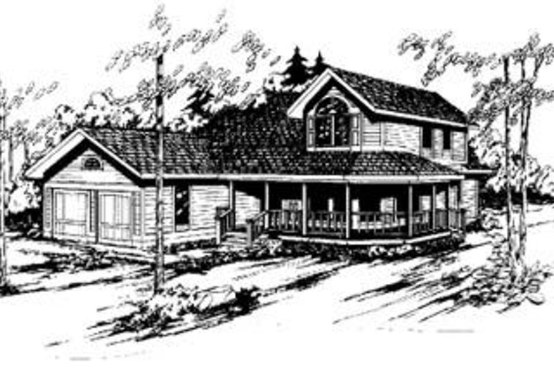 Traditional Style House Plan - 3 Beds 2.5 Baths 2140 Sq/Ft Plan #60-302 Exterior - Front Elevation