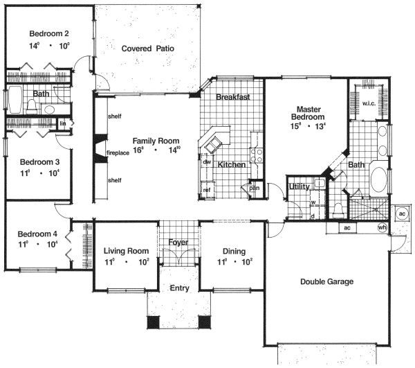 Mediterranean Floor Plan - Main Floor Plan Plan #417-183