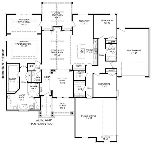 Architectural House Design - Southern Floor Plan - Main Floor Plan #932-80