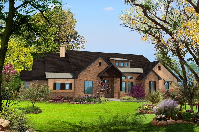 Architectural House Design - Contemporary Exterior - Front Elevation Plan #80-186
