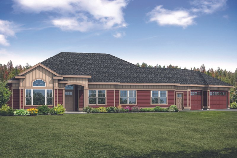 Ranch Style House Plan - 3 Beds 2 Baths 2663 Sq/Ft Plan #124-1119 Exterior - Front Elevation