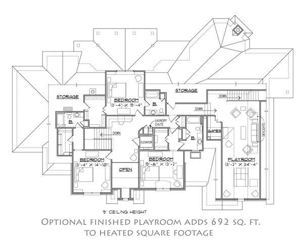European Floor Plan - Upper Floor Plan Plan #1054-30