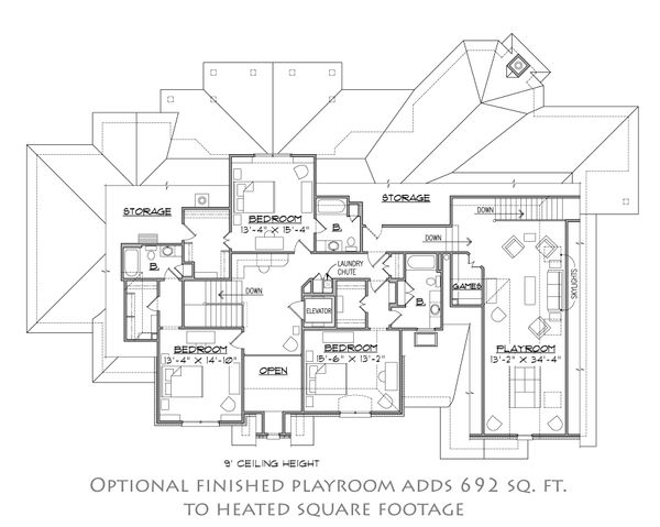 European Floor Plan - Upper Floor Plan #1054-30