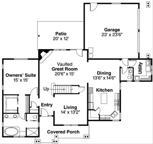 Traditional Floor Plan - Main Floor Plan Plan #124-596