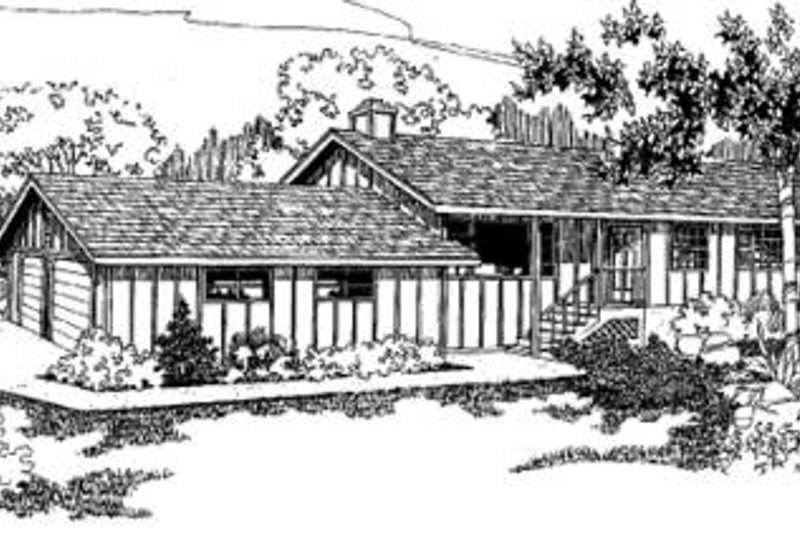 Ranch Exterior - Front Elevation Plan #60-305 - Houseplans.com