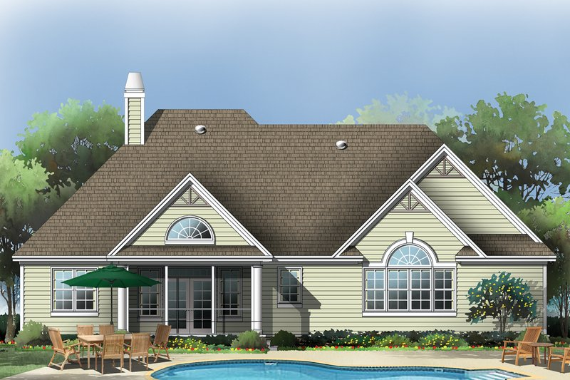 Country Exterior - Rear Elevation Plan #929-10 - Houseplans.com