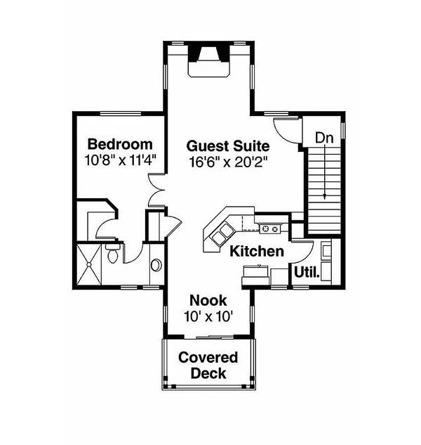 Bungalow Floor Plan - Upper Floor Plan Plan #124-802