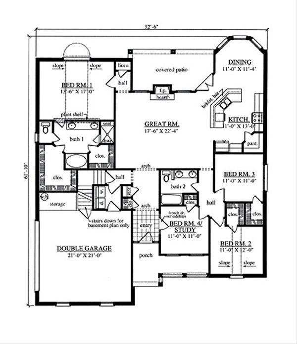 Country Floor Plan - Main Floor Plan Plan #42-387