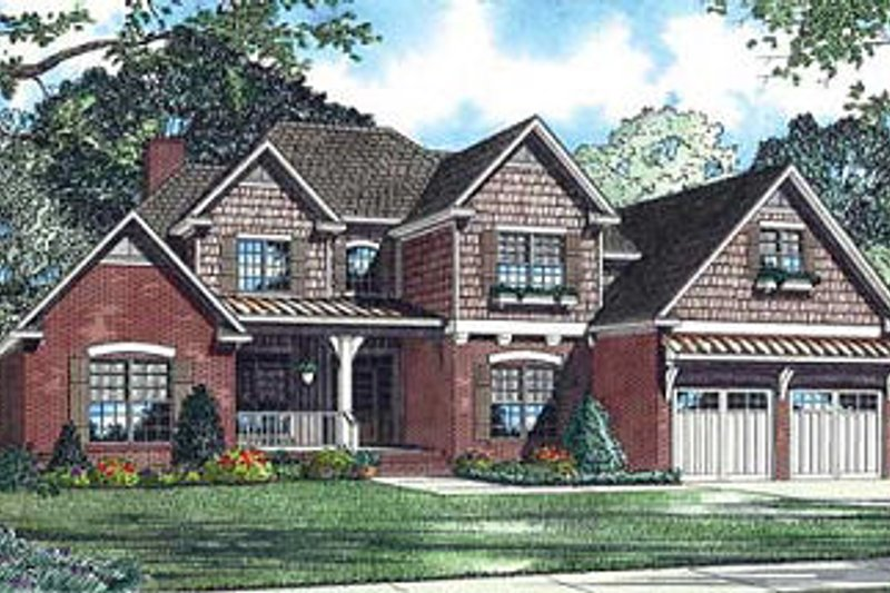 European Style House Plan - 4 Beds 3 Baths 2952 Sq/Ft Plan #17-1168 Exterior - Front Elevation
