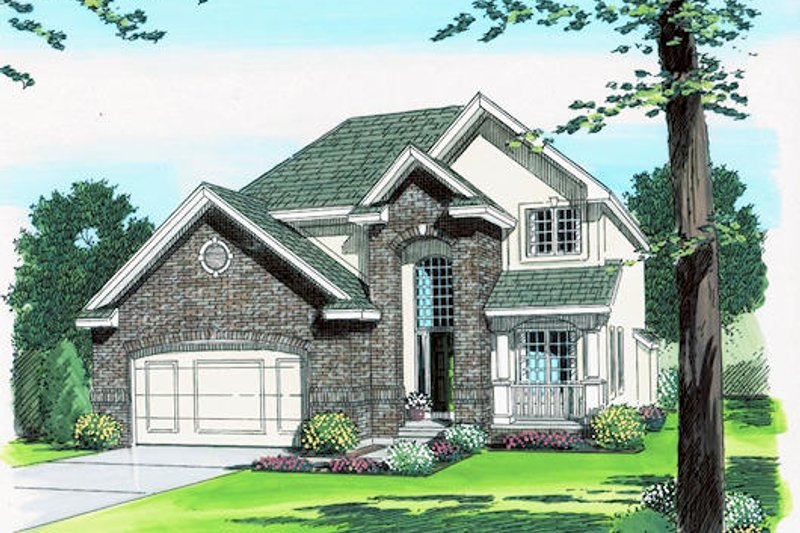 Traditional Style House Plan - 4 Beds 2.5 Baths 2333 Sq/Ft Plan #455-176 Exterior - Front Elevation