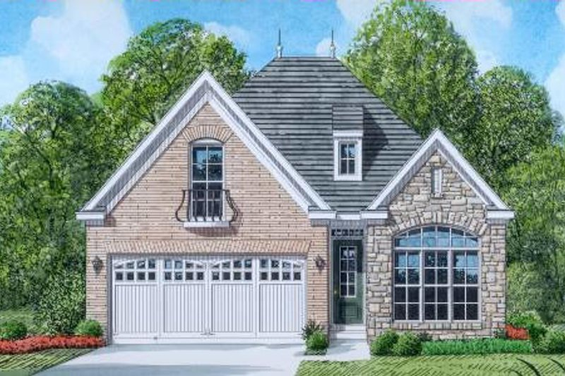 European Style House Plan - 3 Beds 2 Baths 1965 Sq/Ft Plan #424-37 Exterior - Front Elevation
