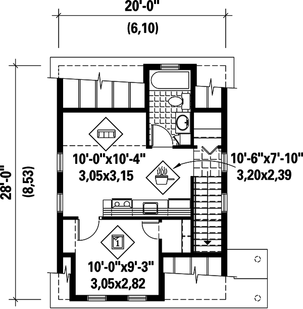 Country Floor Plan - Upper Floor Plan Plan #25-4438