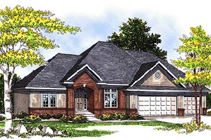 Traditional Style House Plan - 3 Beds 2 Baths 2232 Sq/Ft Plan #70-339 Exterior - Front Elevation