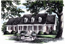 Southern Exterior - Front Elevation Plan #137-176