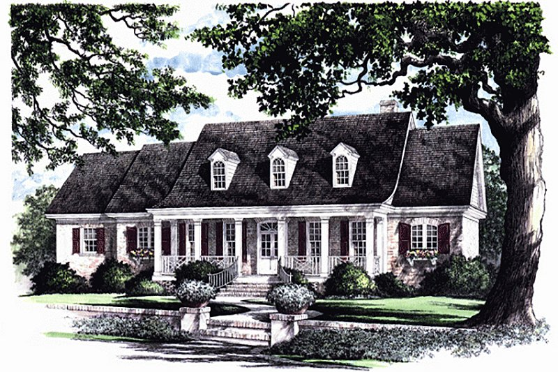 Southern Exterior - Front Elevation Plan #137-176 - Houseplans.com