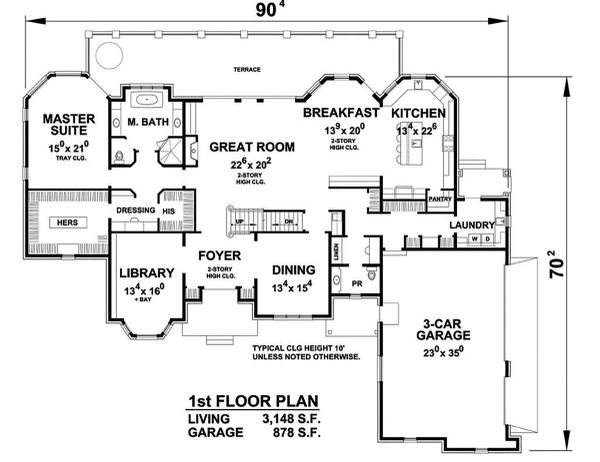 European Floor Plan - Main Floor Plan Plan #20-2388