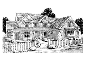 Dream House Plan - Farmhouse Exterior - Front Elevation Plan #20-1364