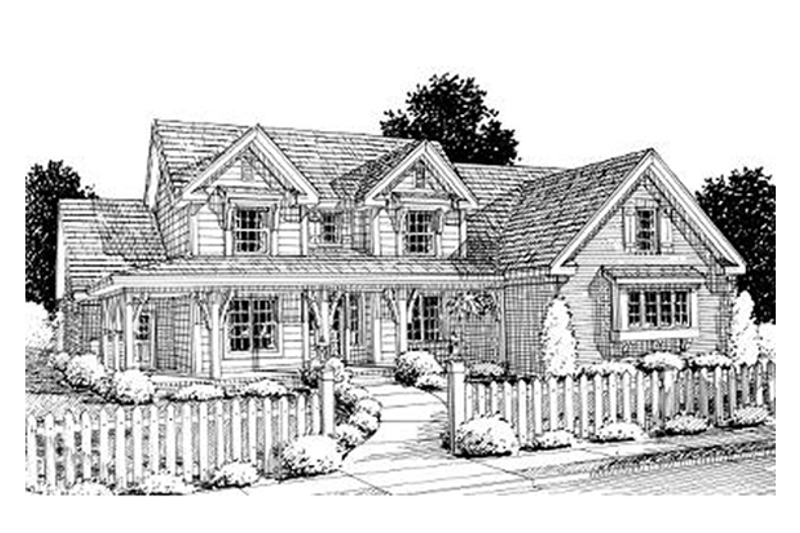 Farmhouse Style House Plan - 4 Beds 3 Baths 2924 Sq/Ft Plan #20-1364 Exterior - Front Elevation
