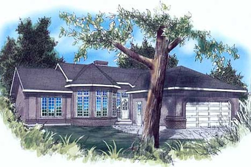 Bungalow Style House Plan - 3 Beds 2 Baths 1518 Sq/Ft Plan #409-111 Exterior - Front Elevation