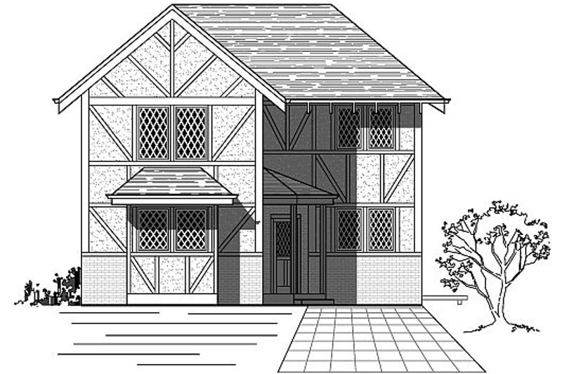 European Style House Plan - 3 Beds 1.5 Baths 1374 Sq/Ft Plan #423-42 Exterior - Front Elevation