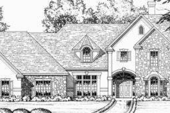 European Exterior - Front Elevation Plan #40-234