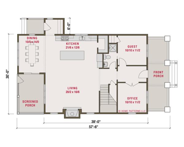 Craftsman Floor Plan - Main Floor Plan Plan #461-62