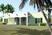 Adobe / Southwestern Style House Plan - 3 Beds 2 Baths 1972 Sq/Ft Plan #1-1388 Exterior - Front Elevation