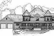 Victorian Style House Plan - 4 Beds 3.5 Baths 4850 Sq/Ft Plan #31-103 Exterior - Front Elevation