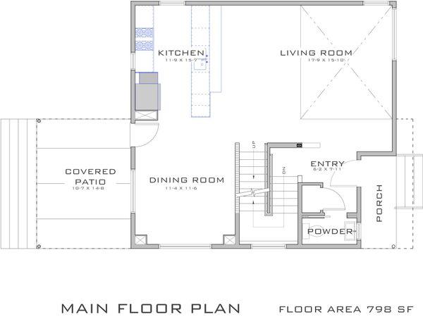 Modern Style House Plan - 3 Beds 2.5 Baths 1682 Sq/Ft Plan #909-2 Floor Plan - Main Floor Plan