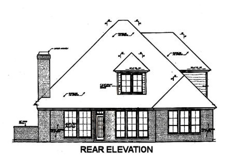 European Exterior - Rear Elevation Plan #310-675 - Houseplans.com