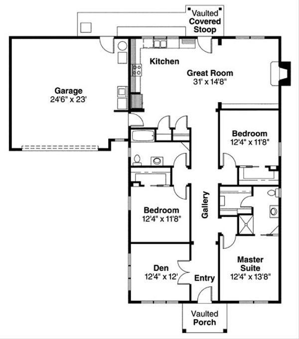 Ranch Floor Plan - Main Floor Plan Plan #124-720