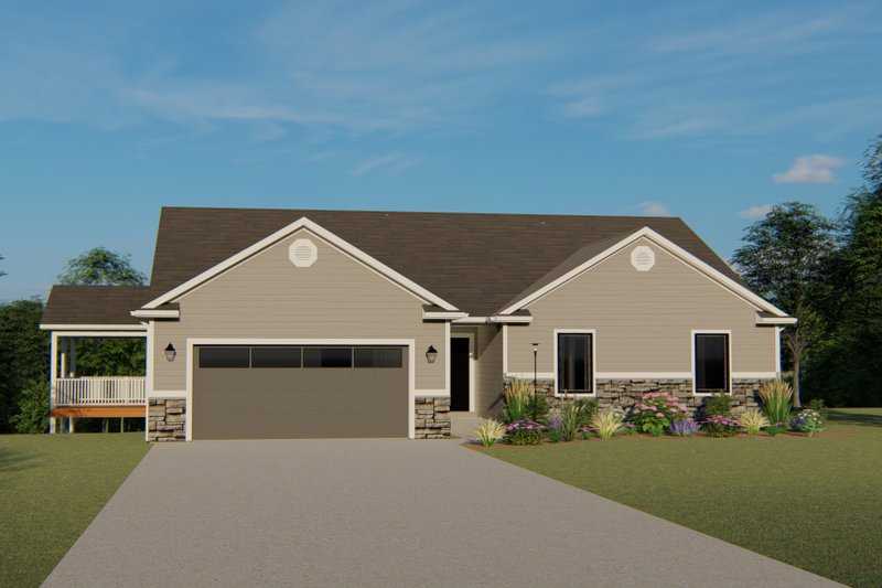 Cottage Style House Plan - 3 Beds 2.5 Baths 1836 Sq/Ft Plan #1064-35 Exterior - Front Elevation