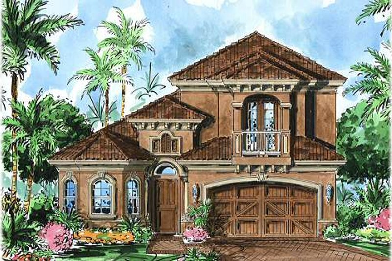 European Style House Plan - 3 Beds 2.5 Baths 2565 Sq/Ft Plan #27-350 Exterior - Front Elevation