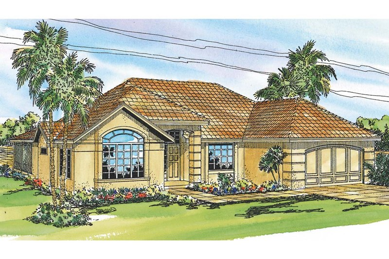 Mediterranean Exterior - Front Elevation Plan #124-248