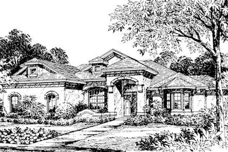 Mediterranean Style House Plan - 4 Beds 3 Baths 3591 Sq/Ft Plan #135-153 Exterior - Front Elevation