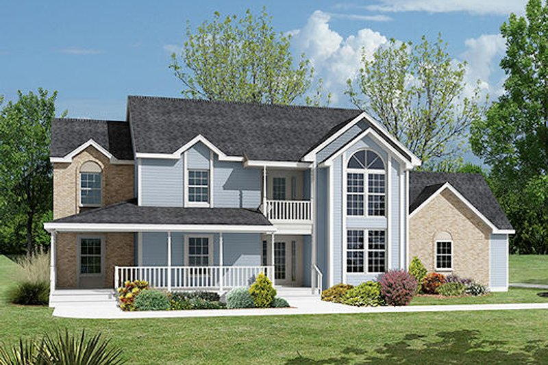 Southern Exterior - Front Elevation Plan #57-236