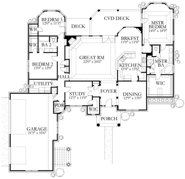 House Plan Design - Mediterranean Floor Plan - Main Floor Plan #80-164