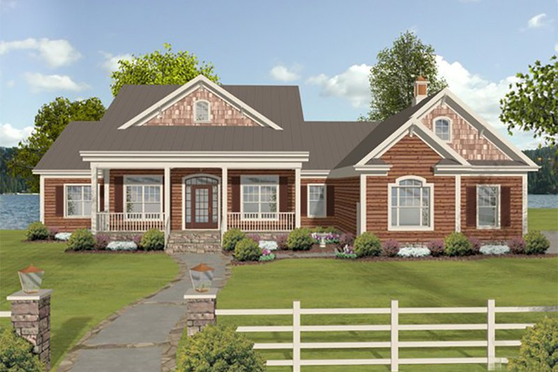 Beach Style House Plan - 3 Beds 3 Baths 2183 Sq/Ft Plan #56-640 Exterior - Front Elevation