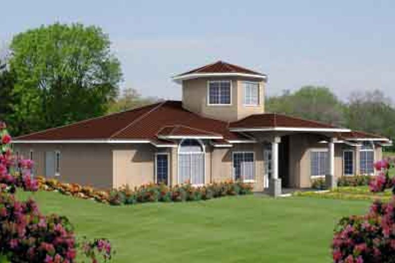 Adobe / Southwestern Style House Plan - 5 Beds 3 Baths 3303 Sq/Ft Plan #1-1100 Exterior - Front Elevation