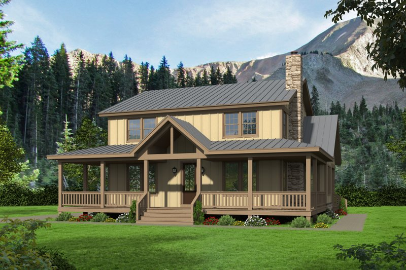 Cabin Exterior - Front Elevation Plan #932-44