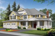 Country Style House Plan - 4 Beds 3.5 Baths 4430 Sq/Ft Plan #132-169 Exterior - Front Elevation