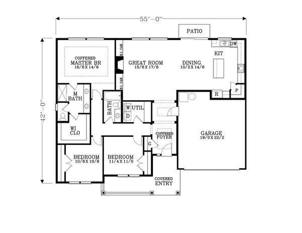 Craftsman Floor Plan - Main Floor Plan Plan #53-464