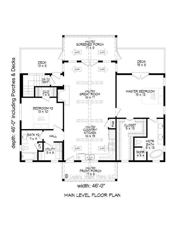 Country Floor Plan - Main Floor Plan #932-55