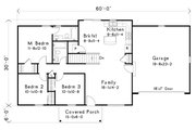 Ranch Style House Plan - 3 Beds 2 Baths 1158 Sq/Ft Plan #22-576