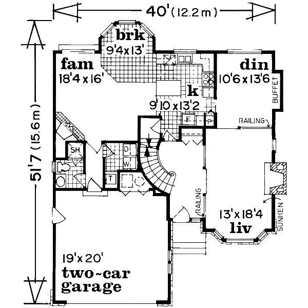 European Floor Plan - Main Floor Plan Plan #47-577