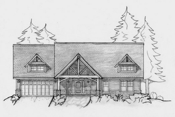 Craftsman Exterior - Front Elevation Plan #487-1