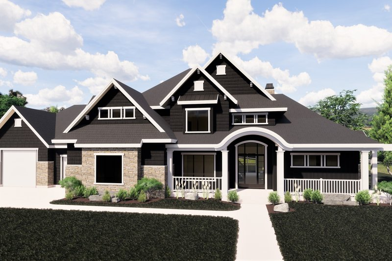 Craftsman Style House Plan - 6 Beds 5 Baths 6756 Sq/Ft Plan #920-59 Exterior - Front Elevation