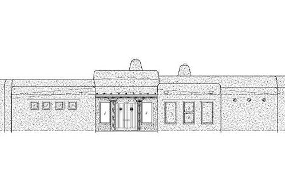 Adobe / Southwestern Exterior - Front Elevation Plan #24-281