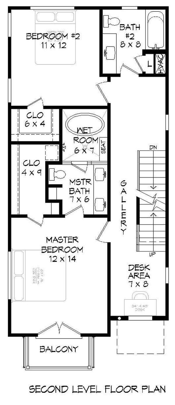Contemporary Floor Plan - Upper Floor Plan #932-317